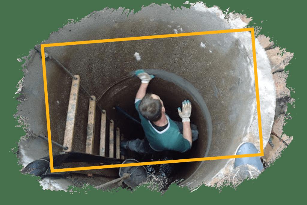 Герметизация швов и чистка колодца